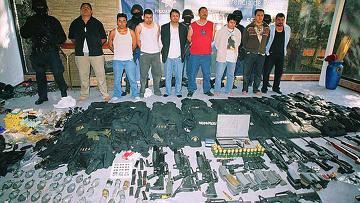 Арестованные боевики мексиканского наркокартеля