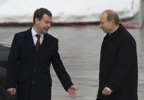 Д.Медведев и В.Путин на церемонии зажжения Вечного огня
