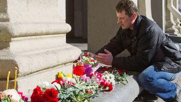 Возложение цветов в память о погибших при взрыве в Минске