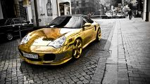 порш 911 кабриолет, покрытый золотом