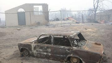 Последствия пожара в поселке Борковка Нижегородской области