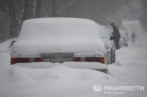 Занесенные снегом автомобили