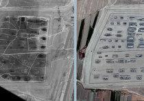 Склад боеприпасов близ г. Абадан, Туркмения. Справа: до взрыва, данные GoogleEarth. Слева: после взрыва, снимок EROS A, дата съемки 12 июля 2011 г.