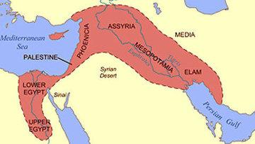 Карта расположения ближневосточных территорий, известных как Плодородный полумесяц