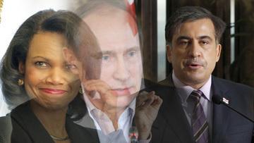 Кондолиза Райс, президент Грузии Михаил Саакашвили и Владимир Путин