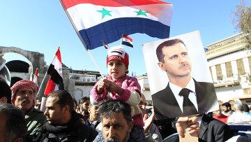 Митинг сторонников Башара сада в Дамаске
