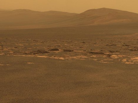 "Западный край кратера Индевор на Марсе. Фото с марсохода ""Оппортьюнити"""