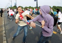 Столкновение российских и польских болельщиков в Варшаве
