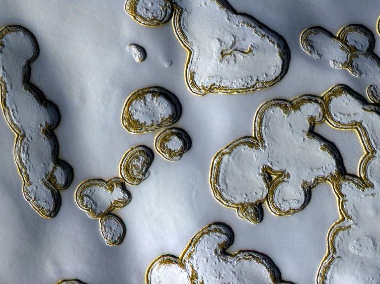Лед из двуокиси углерода на Марсе