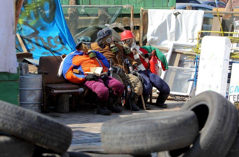 Участники группы самообороны в центре Киева