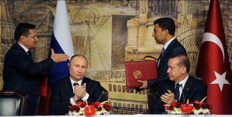Владимир Путин и Реджеп Тайип Эрдоган во время визита российского президента в Турцию
