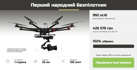 Сбор средств для приобретения беспилотников для украинской армии