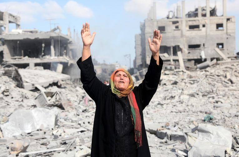 Разрушенные дома в секторе Газа