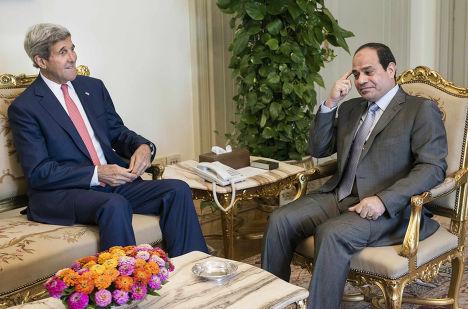 Встреча Джона Керри с президентом Египта Абдулом-Фаттахом Ас-Сиси в Каире