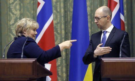 Премьер-министр Норвегии Эрна Солберг и премьер-министр Украины Арсений Яценюк
