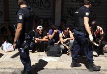 Иммигранты в центре Афин
