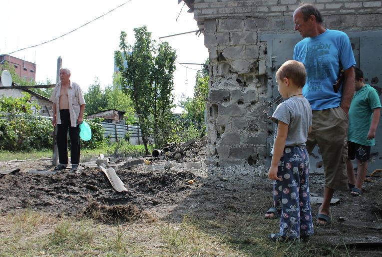 Последствия обстрела Донецка
