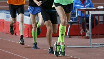 Спортсмены во время тренировки в Олимпийском центре в Москве
