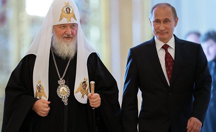 Президент России Владимир Путин и патриарх Московский и всея Руси Кирилл
