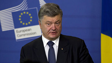 Президент Украины Петр Порошенко во время пресс-конференции в штаб-квартире ЕС в Брюсселе