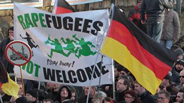 Сторонники правых партий на марше протеста в Кельне