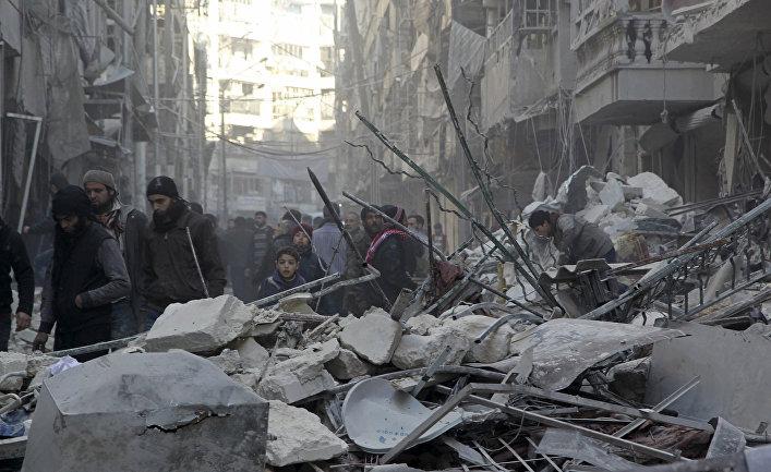 Последствия авиабомбардировок в Алеппо, Сирия
