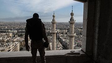 Военнослужащий Сирийской Арабской армии в городе Алеппо