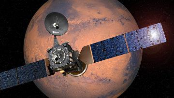 Так художник представляет себе полет космического аппарата ExoMars к Марсу