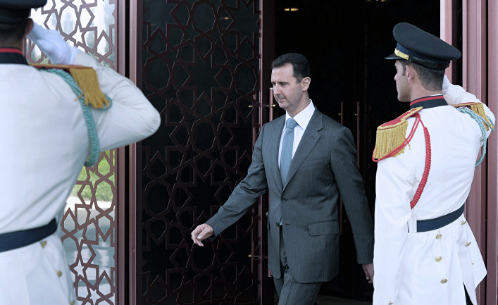 11 мая 2010 года. Президент Сирии Башар Асад во время встречи с президентом РФ Дмитрием Медведевым в дворцовом комплексе «Каср аш-Шааб»