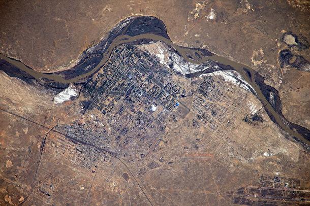 Город Байконур с высоты МКС