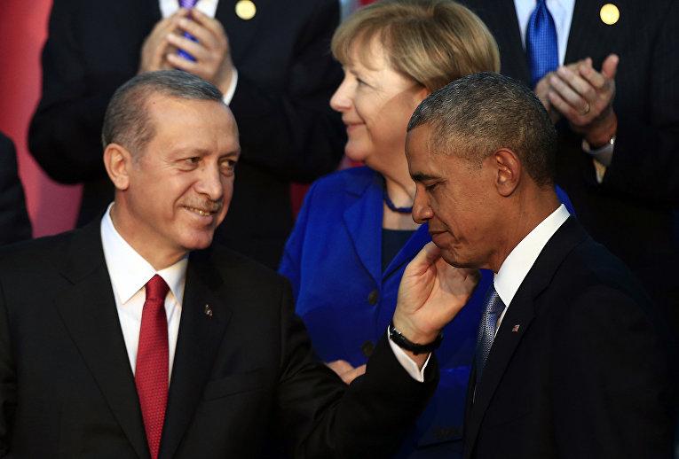 Президент США Барак Обама, президент Турции Реджеп Тайип Эрдоган и канцлер Германии Ангела Меркель
