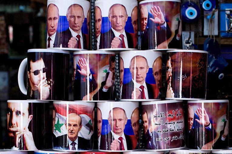 Кружки с изображениями Владимира Путина, Башара Асада и Шейха Хасана Насраллы