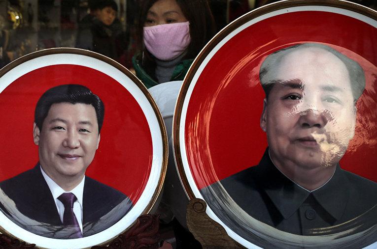 Сувениры с изображением Си Цзиньпина и Мао Цзэдуна