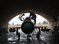 Сирийский летчик осматривает самолет МИГ-21 сирийских ВВС перед вылетом на авиабазе «Хама»