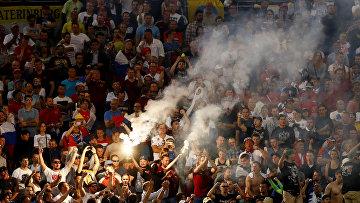 Трибуны российских болельщиков во время матча Россия-Англия