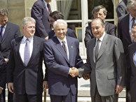 Билл Клинтон, Борис Ельцин, Жак Ширак после подписания Основополагающего акта «Россия - НАТО»