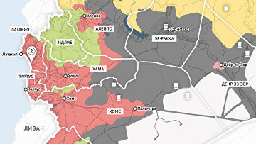 Карта продвижения правительственных войск Сирии и курдского ополчения