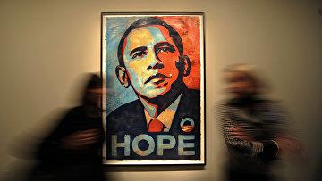 Портрет президента США Барака Обамы в Национальной портретной галерее в Вашингтоне