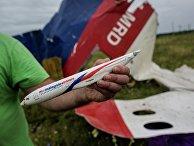 Мужчина демонстрирует модель разбившегося самолета, найденную на месте крушения лайнера