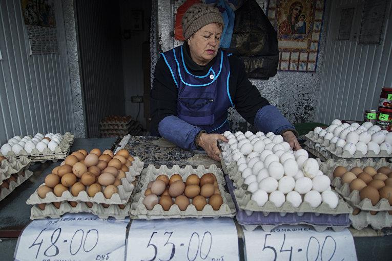Цены в рублях на одном из рынков в Донецке