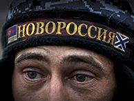 Ополченец Луганской народной республики на первой линии обороны в Славяносербском районе неподалеку от Луганска