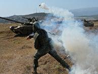 Условное нападение боевиков на танковый батальон на полигоне Дальний в рамках проведения тактических учений мотострелковой бригады