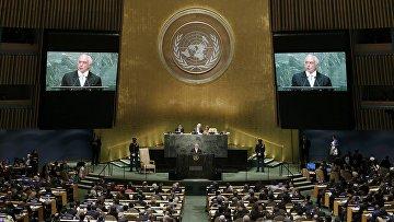 Вице-президент Бразилии Мишел Темер выступает на Генеральной Ассамблеи ООН в США