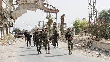 Солдаты сирийской армии в пригороде Дамаска
