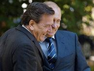 Шредер и Путин во время встречи в Светлогорске
