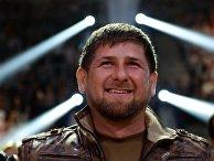 Глава Чеченской Республики Рамзан Кадыров наблюдает за боем за титул чемпиона мира по версии IBO в первом тяжелом весе