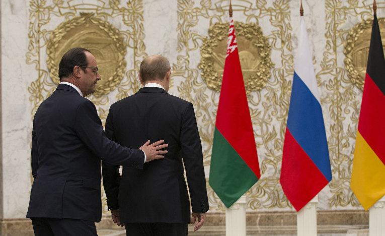 Президент Франции Франсуа Олланд и президент России Владимир Путин