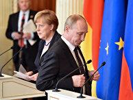 Президент России Владимир Путин и канцлер Германии Ангела Меркель