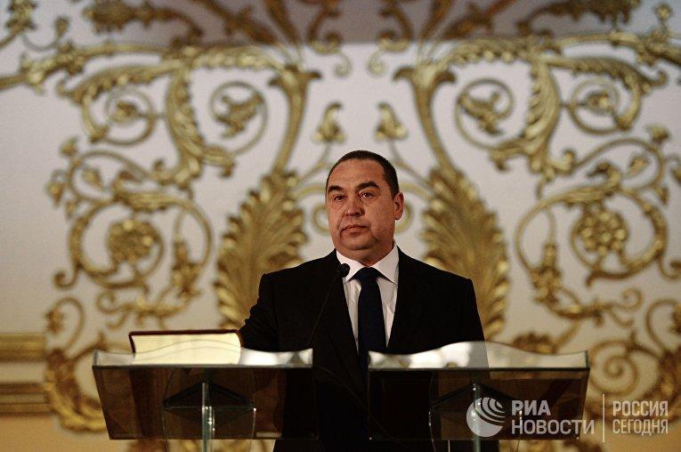 Избранный глава Луганской народной республики Игорь Плотницкий на церемонии инаугурации в Луганске