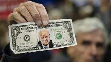 Однодолларовая купюра с изображением Дональда Трампа